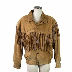 Vintage Brown Tassel Leather Stefano leather Jacke